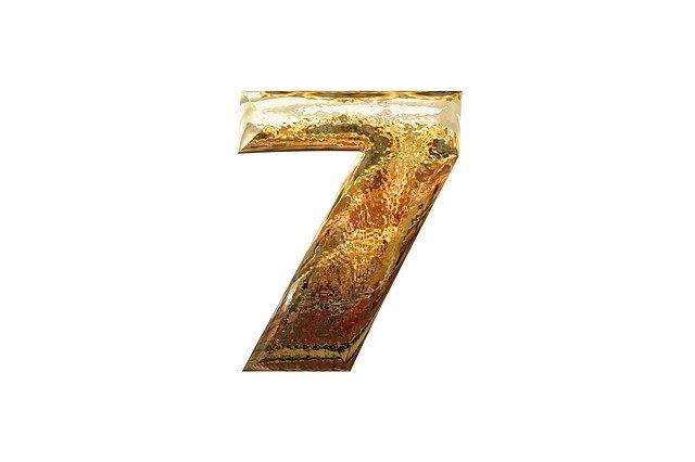 zlaté lesklé číslo 7